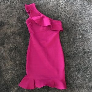 wow couture fuchsia truffled bodycon dress